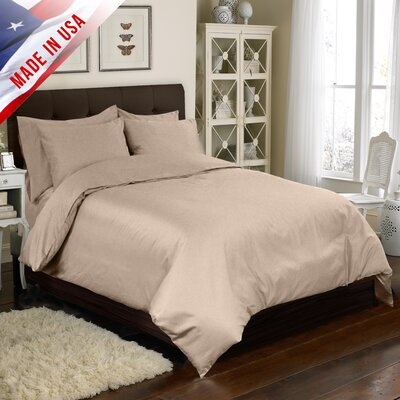 4 Piece Duvet Cover Set Color: Taupe, Size: California King