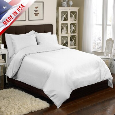 Supreme Sateen Duvet Cover Set Color: White, Size: King