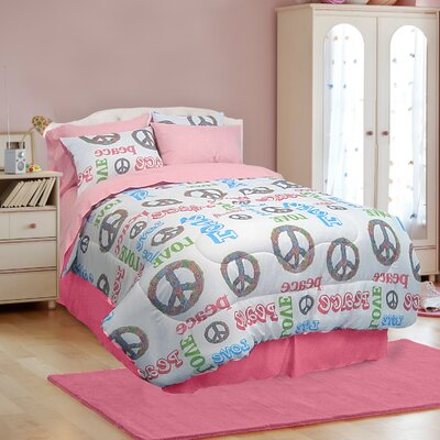 Peace and Love 3 Piece Comforter Set Size: Queen