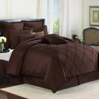 Diamonte 4 Piece Reversible Comforter Set Color: Chocolate, Size: Queen