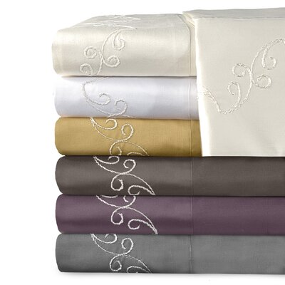 Veratex Supreme Sateen 800 Thread Count Scroll Sheet Set - Size: Queen, Color: Mulberry