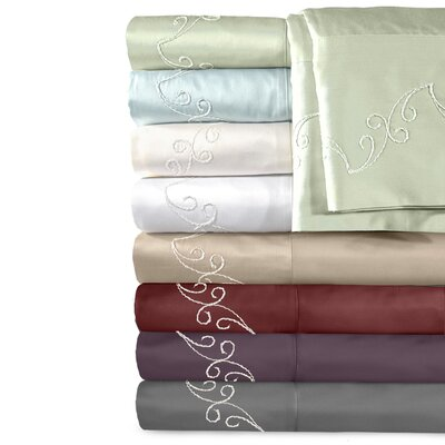 Veratex Supreme Sateen 500 Thread Count Scroll Sheet Set - Size: King, Color: Pewter