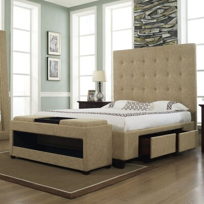 California King  Frame  Drawers on Atlantic Furniture Bordeaux Platform Bed With Flat Panel Drawers In