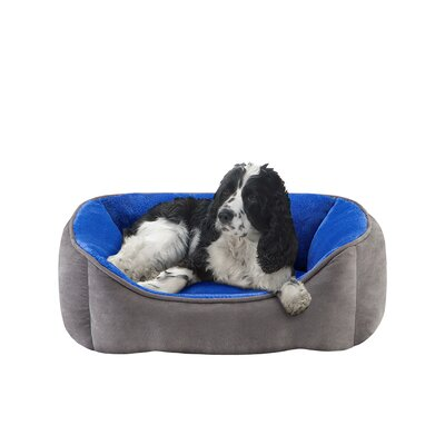 Buster Reversible Rectangular Cuddler Dog Bed color: Blue/Grey, size: 24x34