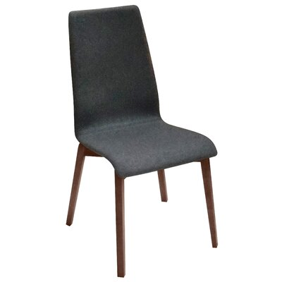 Jill-L Side Chair (Set of 2) Finish: Walnut, Upholstery: Dark Grey