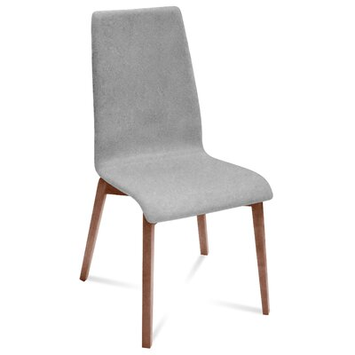 Coss Upholstered Dining Chair Upholstery: Light Gray, Finish: Walnut