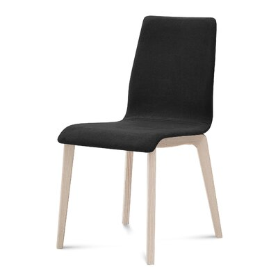 Jude-L Dining Chair (Set of 2) Upholstery: Black, Frame Finish: White Ash