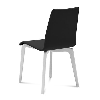 Jude-L Dining Chair (Set of 2) Upholstery: Black, Frame Finish: White Mat Lacquered