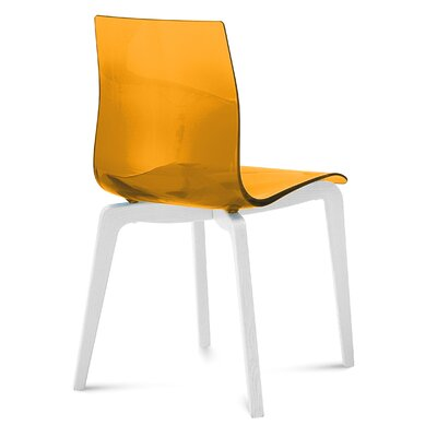 Gel-L Dining Chair (Set of 2) Seat Finish: Transparent Orange, Leg Finish: White