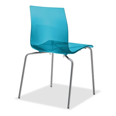 Gel Dining Chair (Set of 2) Finish: Transparent Blue, Frame Finish: Metal