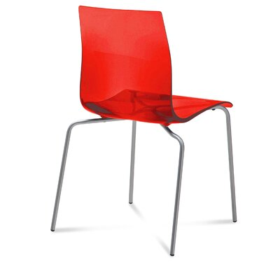 Gel Dining Chair (Set of 2) Finish: Transparent Red, Frame Finish: Metal
