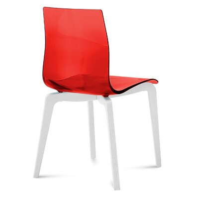 Gel Dining Chair (Set of 2) Frame Color: Red, Leg Color: White