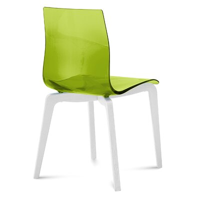Gel-L Solid Wood Dining Chair (Set of 2) Seat Finish: Transparent Green, Leg Finish: White