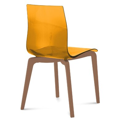 Gel-L Side Chair (Set of 2) Color: Orange, Finish: Walnut