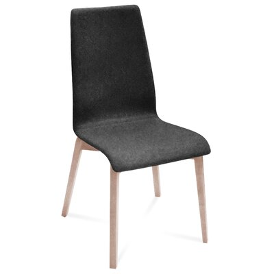 Jill-L Side Chair (Set of 2) Upholstery: Nordwool Dark Grey, Finish: White Ash