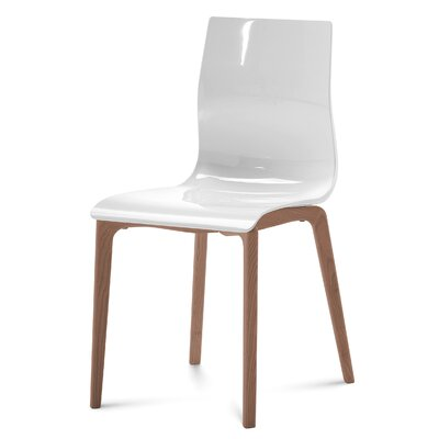 Gel-L Side Chair (Set of 2) Color: White, Finish: Walnut