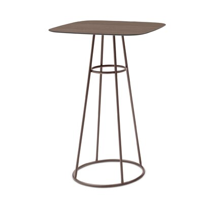 Barrique Pub Table Base Finish: Bronze, Top Finish: Wild Oak