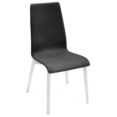 Jill-L Side Chair (Set of 2) Upholstery: Nordwool Dark Grey, Finish: White Mat Lacquered