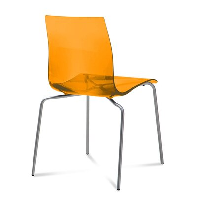 Gel Dining Chair (Set of 2) Finish: Transparent Orange, Frame Finish: Metal