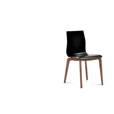 Dipietro Upholstered Dining Chair Upholstery: Black, Finish: Walnut