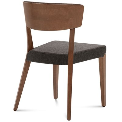 Dipaolo Upholstered Dining Chair Upholstery: Brown, Finish: Walnut