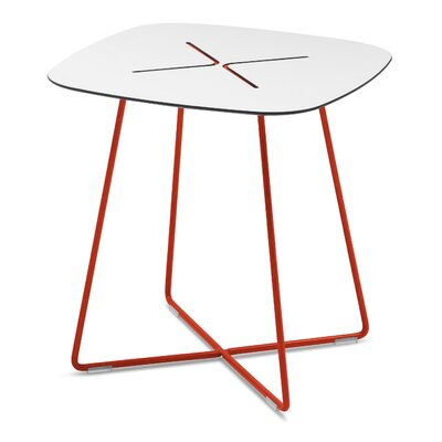 Henrie Cross End Table Color: Red