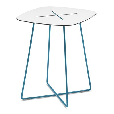 Henrie Cross End Table Color: Turquoise