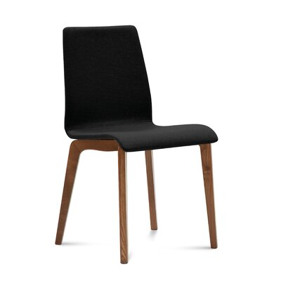 Jude-L Upholstered Dining Chair (Set of 2) Upholstery: Skill Black, Frame Finish: Walnut