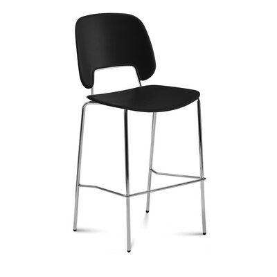 Bogovic Bar Stool Upholstery: Black, Color: Chrome