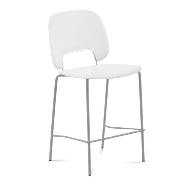 Ravsten Counter Stool Upholstery: Black Leather, Color: White