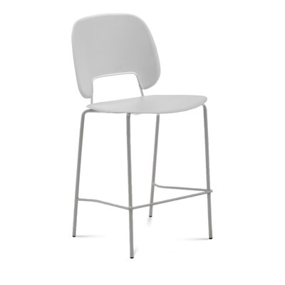 Bogovic Bar Stool Upholstery: Light Gray, Color: White