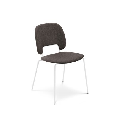 Ravsten Upholstered Dining Chair Upholstery: Brown Fabric, Finish: White