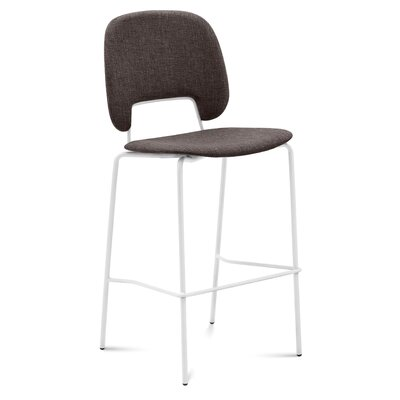 Ravsten Counter Stool Upholstery: Brown Fabric, Color: White