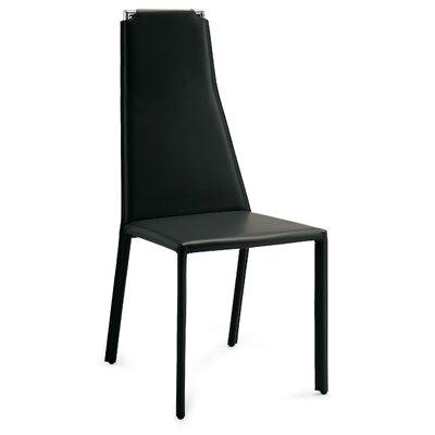 Cliff Genuine Leather Upholstered Dining Chair (Set of 2) Seat: Black Leather, Frame: Chrome
