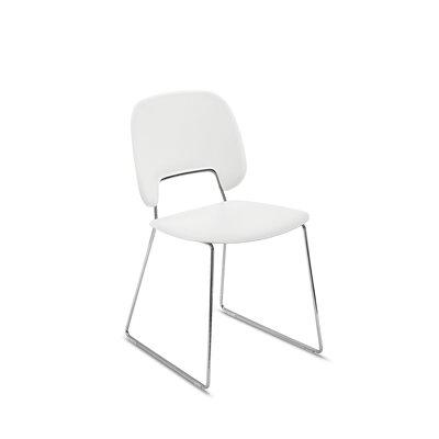 Ravsten Upholstered Dining Chair Upholstery: White, Finish: Chrome