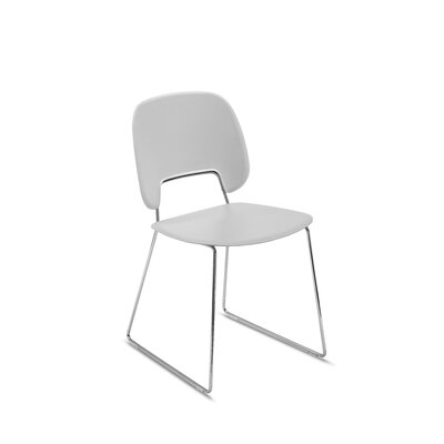 Ravsten Upholstered Dining Chair Upholstery: Light Gray, Finish: Chrome