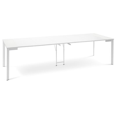 19.5 Dining Table Base Finish: White, Top Finish: White Glass