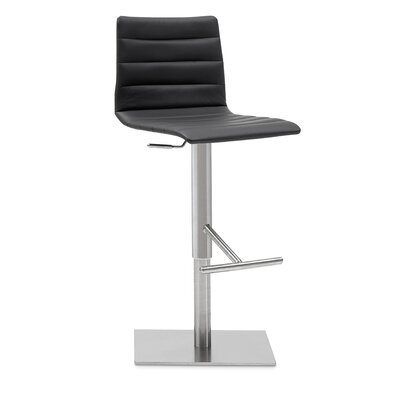 Jam Adjustable Height Swivel Bar Stool Upholstery: Skill Black