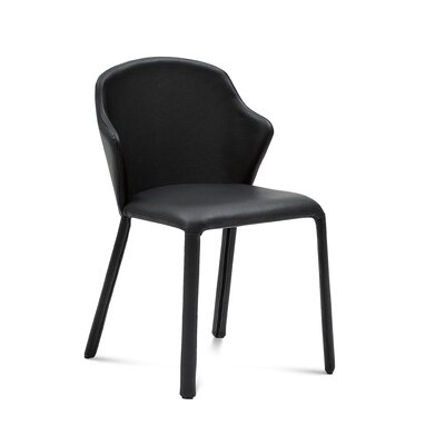 Opera Genuine Leather Upholstered Dining Chair (Set of 2) Finish: Black Grain Leather
