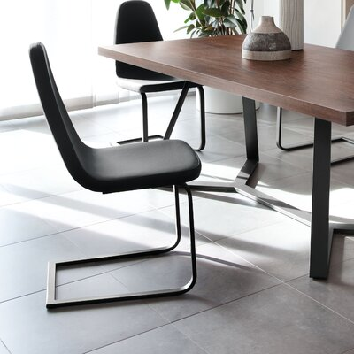Blade-sp Side Chair (Set of 2) Finish: Black, Upholstery: Gray