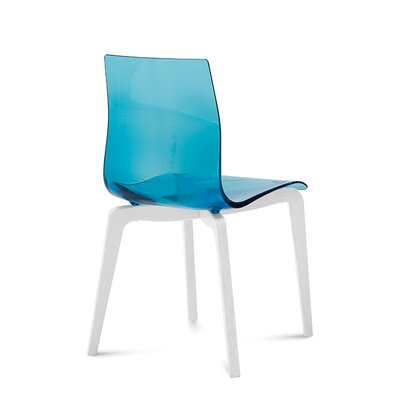 Gel-L Solid Wood Dining Chair (Set of 2) Seat Finish: Transparent Blue, Leg Finish: White