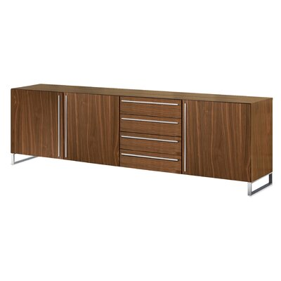 Life 3C Sideboard Frame: Satinated Aluminum, Color: Walnut