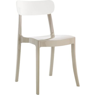 New Retro Chair (Set of 4) Finish: Taupe Frame and White Back