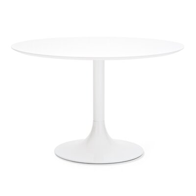 Corona Dining Table Top Finish: Black, Base Finish: White Lacquered