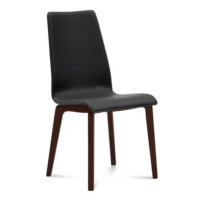 Coss Upholstered Dining Chair Upholstery: Black, Finish: Chocolate