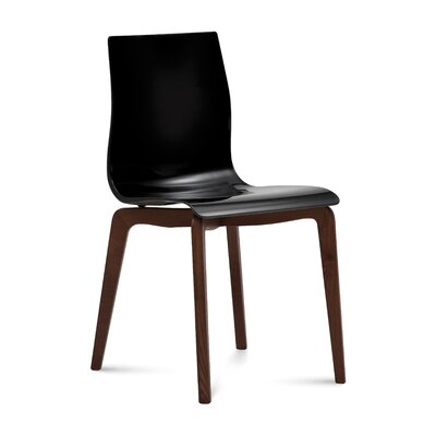 Dipietro Upholstered Dining Chair Upholstery: Black, Finish: Chocolate