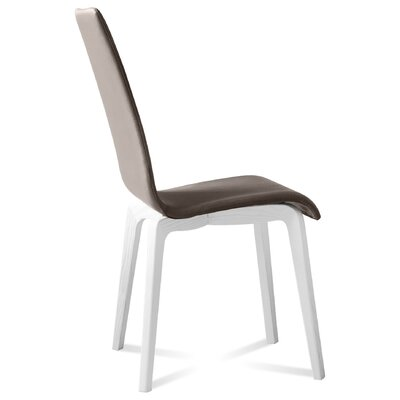 Jill-L Side Chair (Set of 2) Finish: White Mat Lacquered, Upholstery: Skill Taupe