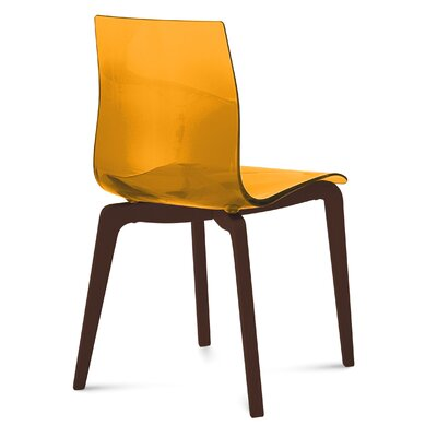 Gel-L Solid Wood Dining Chair (Set of 2) Seat Finish: Transparent Orange, Leg Finish: Brown