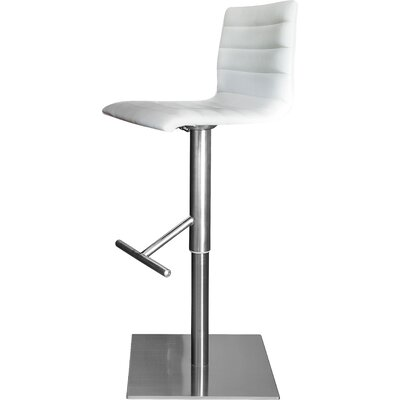 Jam Adjustable Height Swivel Bar Stool Upholstery: Skill White