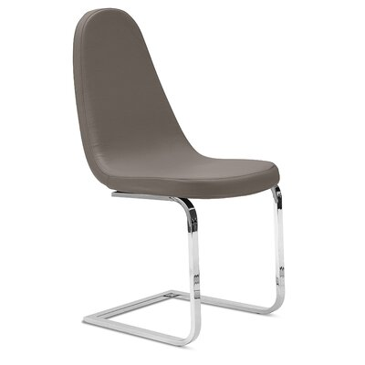Blade-sp Side Chair (Set of 2) Upholstery: Taupe, Finish: Silver